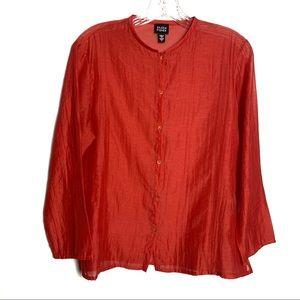 Eileen Fisher Red Orange Button Down Sz S